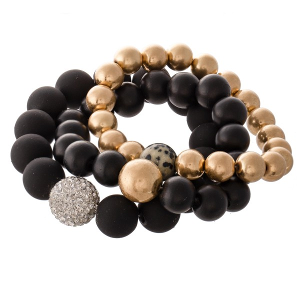 "Ball Beaded CCB Statement Stretch Bracelet Set with Rhinestone Bead Detail.  - 9mm, 11mm and 13mm Bead Sizes - 3pcs/set - Approximately 3"" in diameter - Fits up to a 7"" wrist"