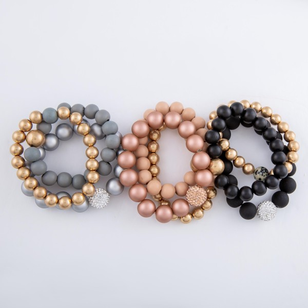 """Ball Beaded CCB Statement Stretch Bracelet Set with Rhinestone Bead Detail.  - 9mm, 11mm and 13mm Bead Sizes - 3pcs/set - Approximately 3"""" in diameter - Fits up to a 7"""" wrist"""