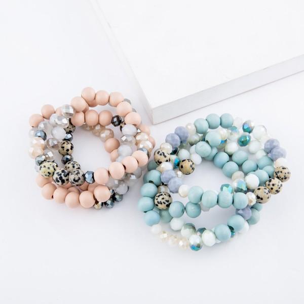 "Semi Precious Beaded Stackable Stretch Bracelet Set with Natural Stone Details.  - 4pcs/set - Approximately 3"" in diameter - Fits up to a 7"" wrist"