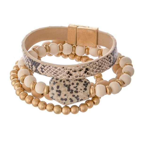"""Wood Beaded Natural Stone Stackable Stretch Bracelet with Faux Leather Snakeskin Magnetic Strand.  - 4pcs/set - Stretchy / Magnetic - Approximately 3"""" in diameter - Fits up to a 7"""" wrist"""