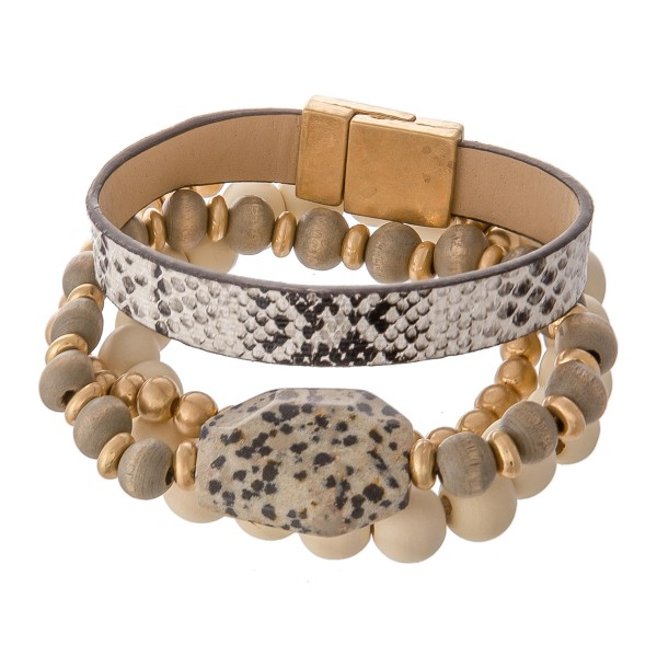 "Wood Beaded Natural Stone Stackable Stretch Bracelet with Faux Leather Snakeskin Magnetic Strand.  - 4pcs/set - Stretchy / Magnetic - Approximately 3"" in diameter - Fits up to a 7"" wrist"