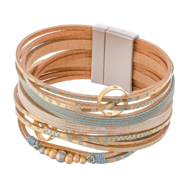 "Metallic Geometric Print Faux Leather Multi-Strand Magnetic Bracelet with Metal Accents.  - Magnetic Closure - Approximately 3"" in diameter - Fits up to a 6"" Wrist"