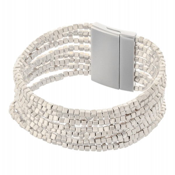 "Multi-Strand Metal Block Beaded Magnetic Bracelet.  - Magnetic Closure - Approximately 3"" in diameter - Fits up to a 6"" wrist"