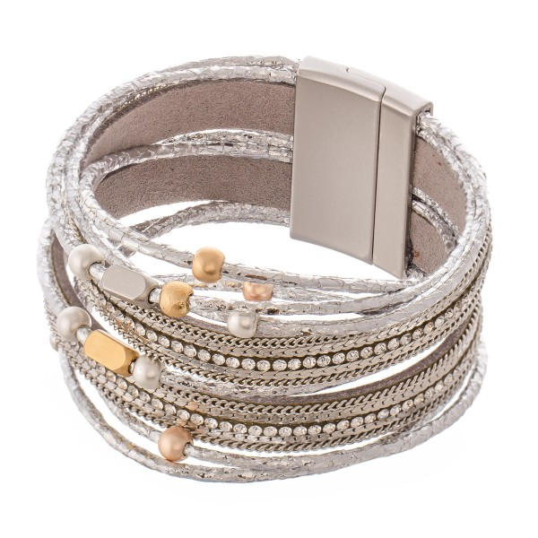 """Metallic Faux Leather Rhinestone Magnetic Bracelet with Two Tone Bead Accents.  - Magnetic Closure - Approximately 3"""" in diameter - Fits up to a 6"""" Wrist"""
