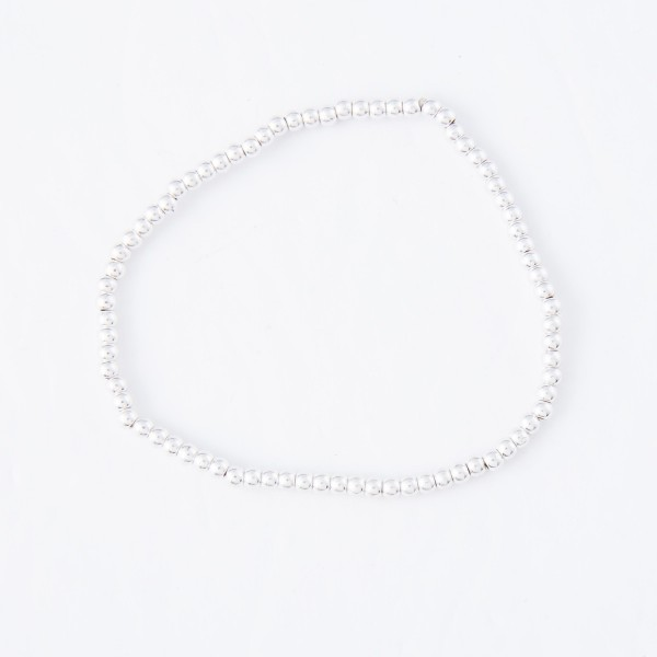 "Dainty Ball Beaded Stretch Bracelet.  - Approximately 3"" in diameter - Fits up to a 7"" wrist - Bead 2mm"