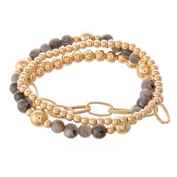 Wholesale gold Ball Beaded Semi Precious Stretch Bracelet Set pcs set diameter F
