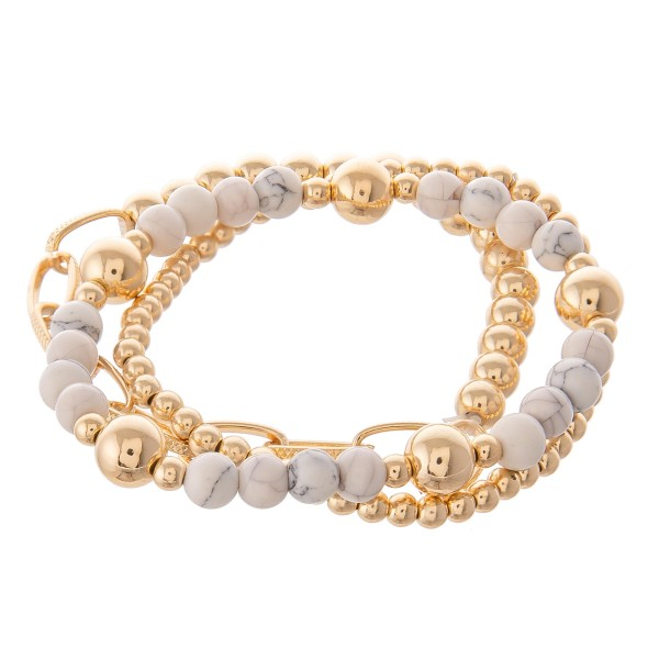 """Gold Ball Beaded Semi Precious Stretch Bracelet Set.  - 3pcs/set - Approximately 3"""" in diameter - Fits up to a 7"""" wrist"""