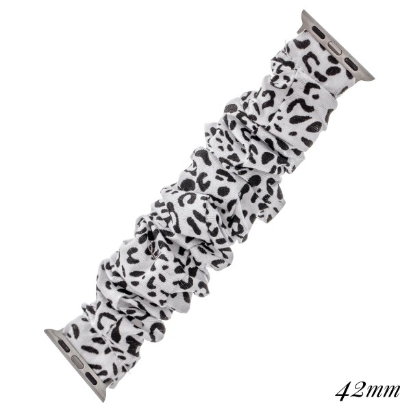 "Interchangeable cheetah print scrunchie smart watch band for smart watches.  - Fits 42-44mm watch face - Approximately 3"" in diameter unstretched - Fits up to a 7"" wrist"