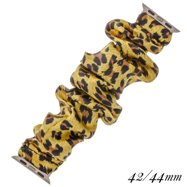 "Interchangeable leopard print scrunchie smart watch band for smart watches.  - Fits 42-44mm watch face - Approximately 3"" in diameter unstretched - Fits up to a 7"" wrist"