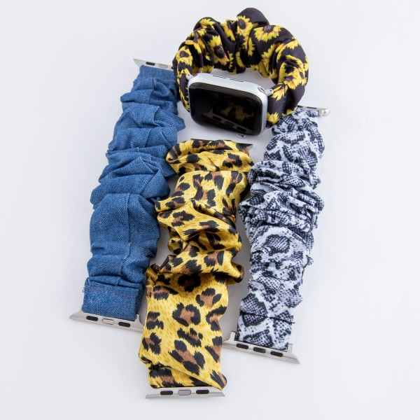 """Interchangeable denim scrunchie smart watch band for smart watches.  - Fits 42-44mm watch face - Approximately 3"""" in diameter unstretched - Fits up to a 7"""" wrist"""