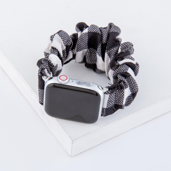 "Interchangeable plaid scrunchie smart watch band for smart watches.  - Fits 38-40mm watch face - Approximately 3"" in diameter unstretched - Fits up to a 7"" wrist"