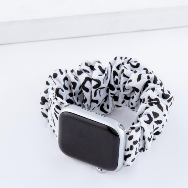 "Interchangeable cheetah print scrunchie smart watch band for smart watches.  - Fits 38-40mm watch face - Approximately 3"" in diameter unstretched - Fits up to a 7"" wrist"