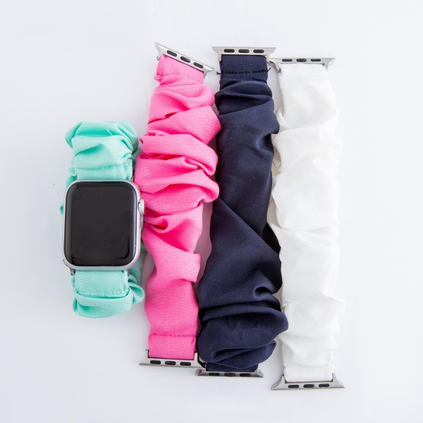 "Interchangeable solid scrunchie smart watch band for smart watches.  - Fits 38-44mm watch face - Approximately 3"" in diameter - Fits up to a 7"" wrist"