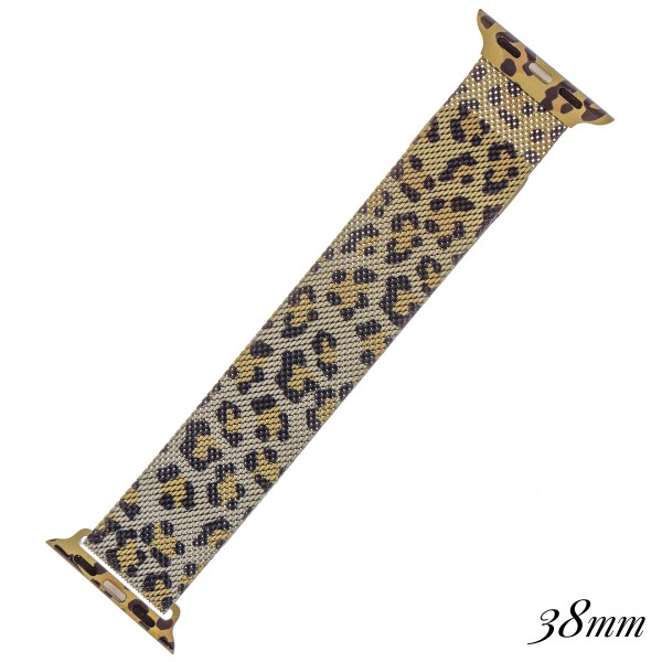 "Interchangeable magnetic metal mesh Cheetah print smart watch band for smart watches.  - Fits 38mm watch face - Magnetic closure - Approximately 3"" in diameter - Fits up to a 7"" wrist"