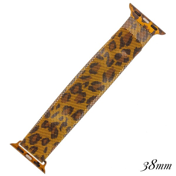 "Interchangeable magnetic metal mesh Leopard print smart watch band for smart watches.  - Fits 38mm watch face - Magnetic closure - Approximately 3"" in diameter - Fits up to a 7"" wrist"