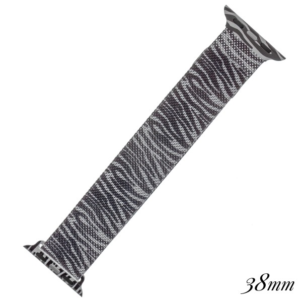 """Interchangeable magnetic metal mesh Zebra print smart watch band for smart watches.  - Fits 38mm watch face - Magnetic closure - Approximately 3"""" in diameter - Fits up to a 7"""" wrist"""