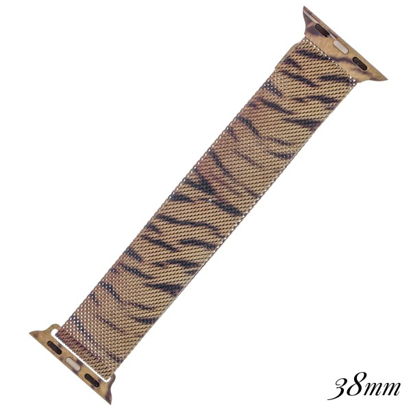 """Interchangeable magnetic metal mesh Tiger print smart watch band for smart watches.  - Fits 38mm watch face - Magnetic closure - Approximately 3"""" in diameter - Fits up to a 7"""" wrist"""