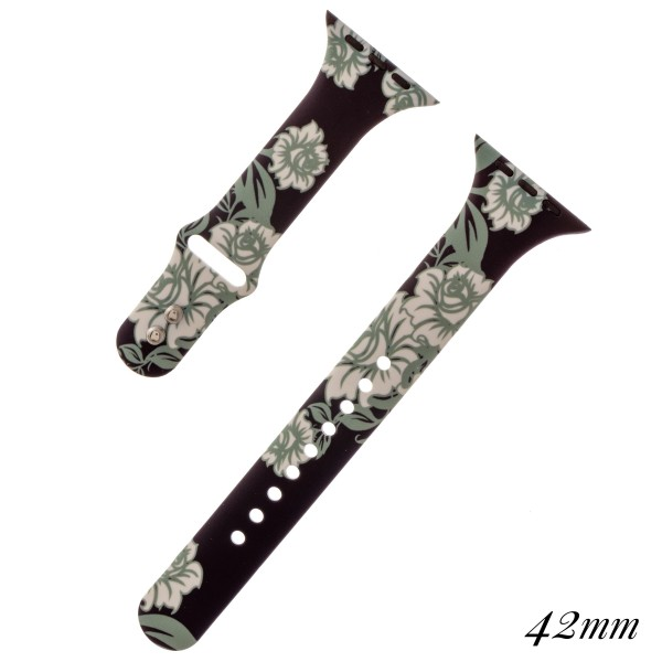 """Interchangeable Floral print silicone smart watch band for smart watches.  - Fits 42mm watch face - Approximately 3"""" in diameter - Adjustable closure - Approximately .5"""" band width"""