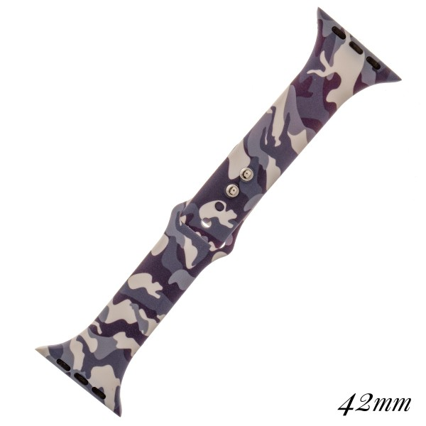 """Interchangeable Camouflage silicone smart watch band for smart watches.  - Fits 42mm watch face - Approximately 3"""" in diameter - Adjustable closure - Approximately .5"""" band width"""