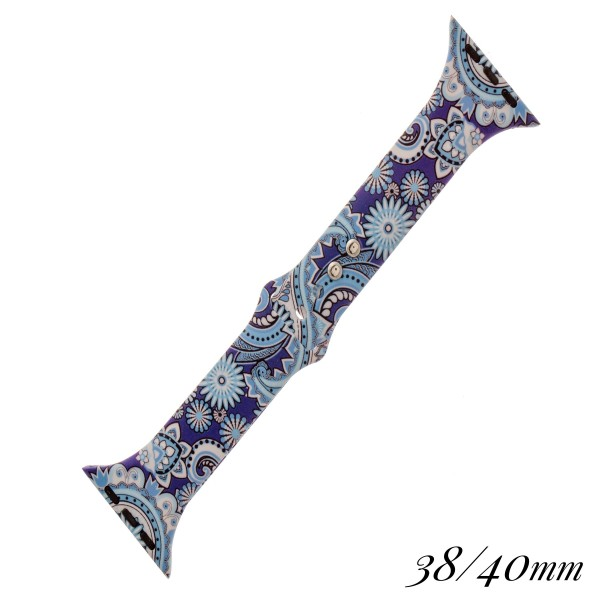 """Interchangeable Paisley print silicone smart watch band for smart watches.  - Fits 38-40mm watch face - Approximately 3"""" in diameter - Adjustable closure - Approximately .5"""" band width"""