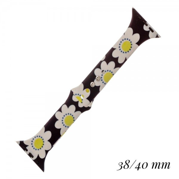 """Interchangeable Daisy print silicone smart watch band for smart watches.  - Fits 38-40mm watch face - Approximately 3"""" in diameter - Adjustable closure - Approximately .5"""" band width"""