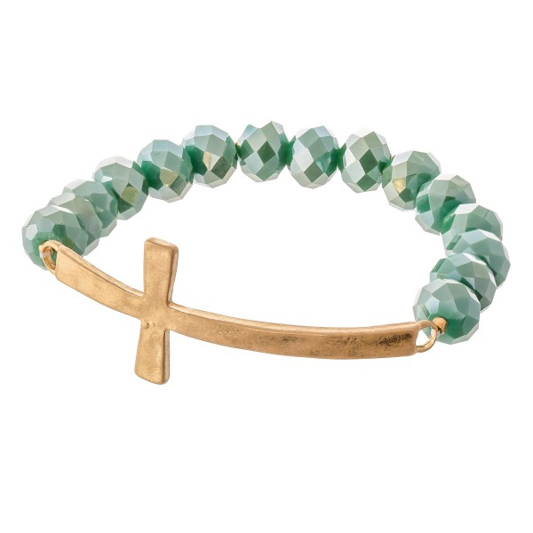 Wholesale teal faceted beaded stretch bracelet east west cross diameter unstretc