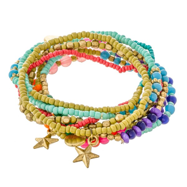 "Multicolor Seed Beaded Boho Star Charm Stacking Stretch Bracelet Set.  - 8pcs/set - Approximately 3"" in diameter unstretched - Fits up to a 7"" wrist"