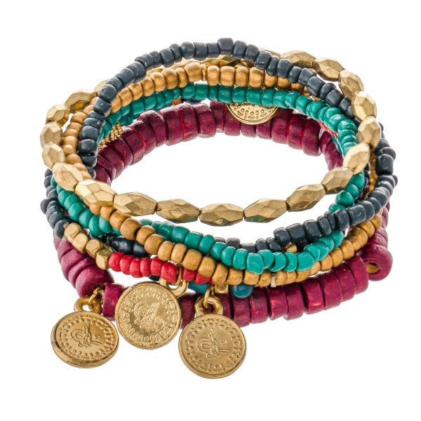 """Teal Burgundy Heishi Beaded Boho Coin Stretch Bracelet Set.  - 7pcs/set - Approximately 3"""" in diameter - Fits up to a 7"""" wrist"""