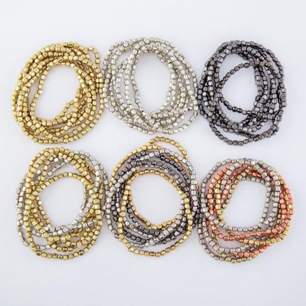 """Metal Beaded Stacking Bracelet Set.  - 8pcs/set - Approximately 3"""" in diameter unstretched - Fits up to a 7"""" wrist"""