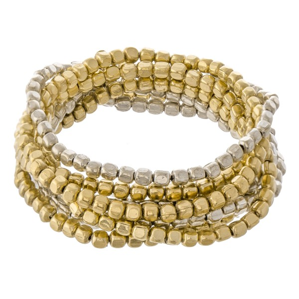 """Two Tone Metal Beaded Stacking Bracelet Set.  - 8pcs/set - Approximately 3"""" in diameter unstretched - Fits up to a 7"""" wrist"""