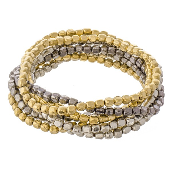 """Multi Tone Metal Beaded Stacking Bracelet Set.  - 8pcs/set - Approximately 3"""" in diameter unstretched - Fits up to a 7"""" wrist"""
