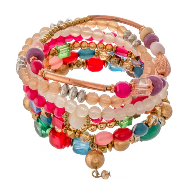 "Fuchsia Multi Semi Precious Beaded Stacking Stretch Bracelet Set with Rhinestone Details.  - 7pcs/set - Approximately 3"" in diameter - Fits up to a 7"" wrist"