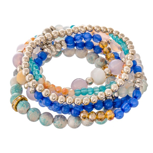 "Mint Lavender Semi Precious Beaded Stacking Stretch Bracelet Set with Rhinestone Details.  - 8pcs/set - Approximately 3"" in diameter - Fits up to a 7"" wrist"