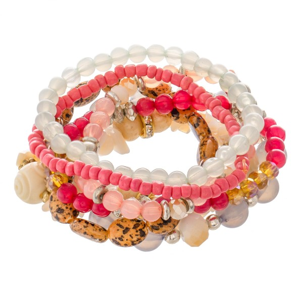 "7 PC Multi Beaded Stackable Stretch Bracelet Set Featuring Rhinestone Accents.  - 7 PC Per Set - Approximately 3"" in Diameter"