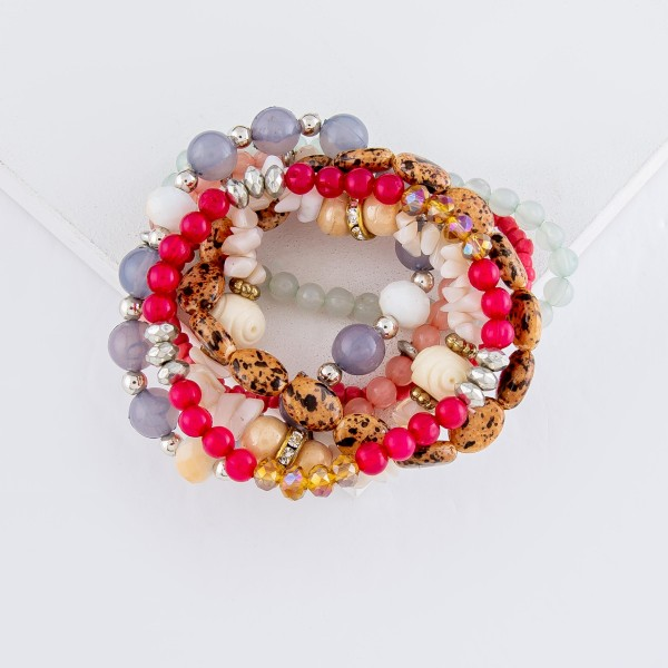 """7 PC Multi Beaded Stackable Stretch Bracelet Set Featuring Rhinestone Accents.  - 7 PC Per Set - Approximately 3"""" in Diameter"""