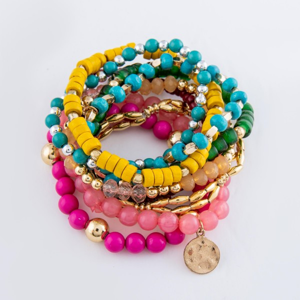 "Fuchsia Multi Semi Precious Heishi Beaded Boho Coin Charm Stacking Stretch Bracelet Set.  - 9pcs/set - Approximately 3"" in diameter - Fits up to a 7"" wrist"