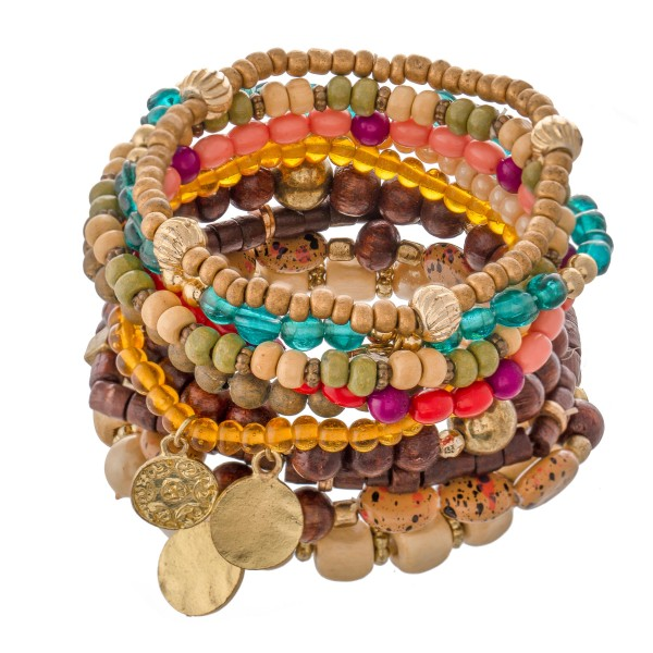 "Multicolor Wood Beaded Boho Coin Stacking Stretch Bracelet Set.  - 10pcs/set - Approximately 3"" in diameter - Fits up to a 7"" wrist"