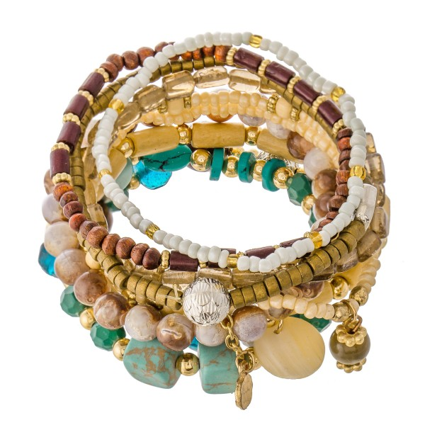 """10 PC Multi Beaded Charm Stackable Stretch Bracelet Set.  - 10 PC Per Set - Approximately 3"""" in Diameter"""