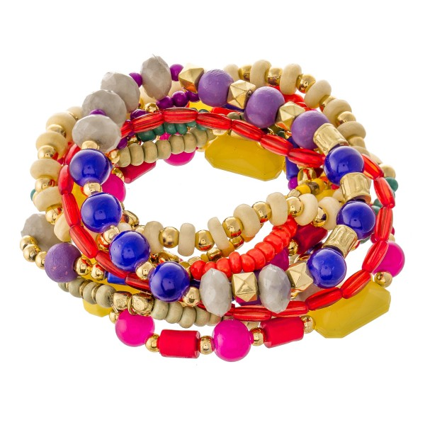 """Multicolor Semi Precious Beaded Boho Stacking Stretch Bracelet Set.  - 10pcs/set - Approximately 3"""" in diameter unstretched - Fits up to a 7"""" wrist"""