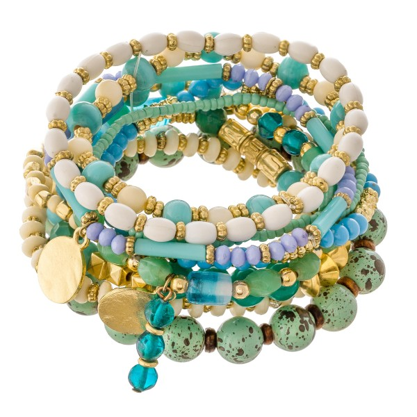 "Mint Semi Precious Beaded Boho Stacking Stretch Bracelet Set.  - 10pcs/set - Approximately 3"" in diameter unstretched - Fits up to a 7"" wrist"