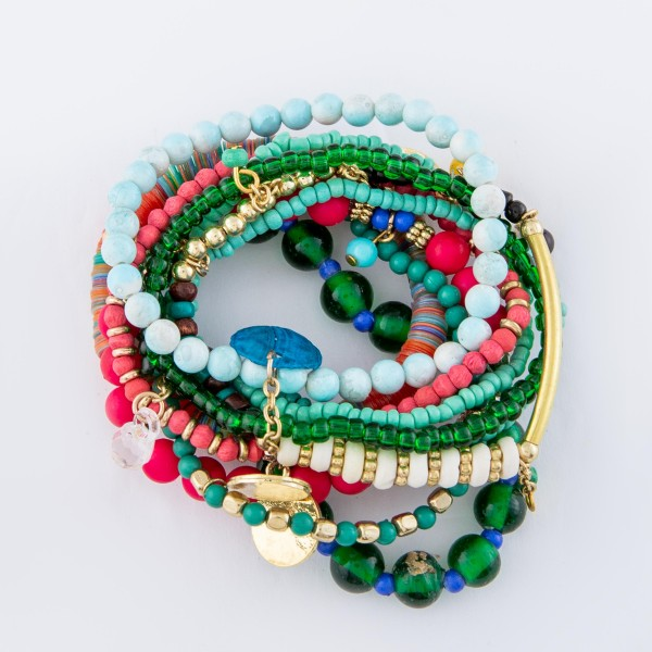 "Teal Green Multi Semi Precious Sequin Beaded Boho Jingle Charm Stacking Stretch Bracelet Set.  - 10pcs/set - Approximately 3"" in diameter unstretched - Fits up to a 7"" wrist"