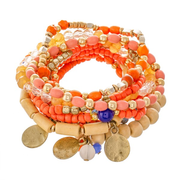 """10 PC Wood Beaded Coin Charm Stacking Stretch Bracelet Set.  - 10 PC Per Set - Approximately 3"""" in Diameter"""
