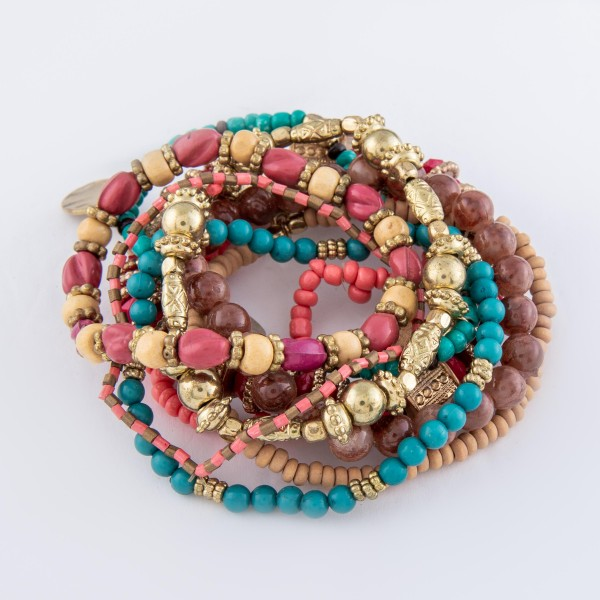 "9 PC Multi Beaded Jingle Charm Stackable Stretch Bracelet Set.  - 9 PC Per Set - Approximately 3"" in Diameter"