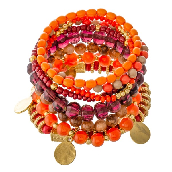 "Orange Multi Semi Precious Beaded Boho Coin Charm Stacking Stretch Bracelet Set.  - 9pcs/set - Approximately 3"" in diameter unstretched - Fits up to a 7"" wrist"