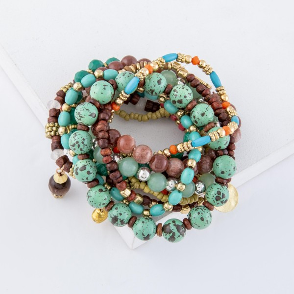"Mint Semi Precious Beaded Boho Jingle Charm Stacking Stretch Bracelet Set.  - 10pcs/set - Approximately 3"" in diameter unstretched - Fits up to a 7"" wrist"
