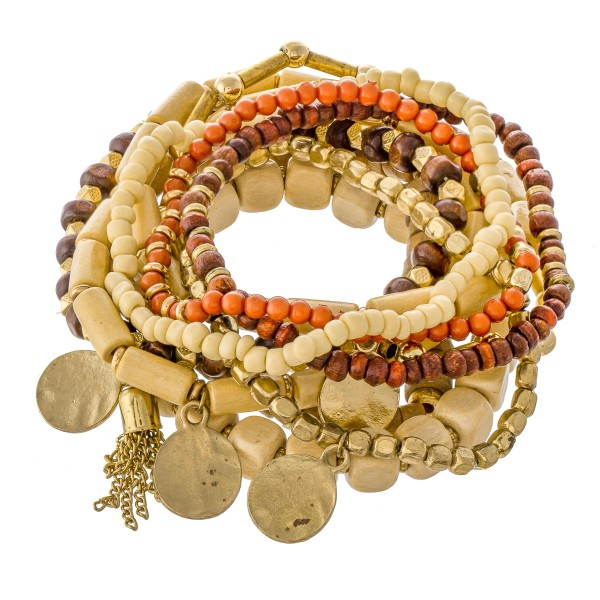 """11 PC Natural Wood Beaded Coin Charm Stackable Stretch Bracelet Set.  - 11 PC Per Set - Approximately 3"""" in Diameter"""