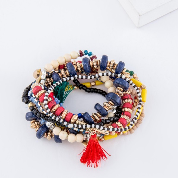 "Multicolor Multi Beaded Boho Heart Charm Tassel Stacking Stretch Bracelet Set.  - 10pcs/set - Approximately 3"" in diameter unstretched - Fits up to a 7"" wrist"