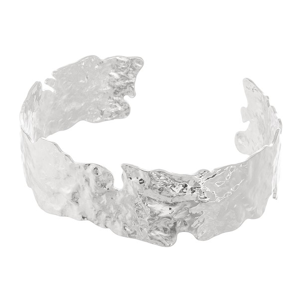 """Nugget Cut Cuff Bracelet in Worn Silver.  - Approximately 2.25"""" in diameter - Fits up to a 5"""" wrist"""