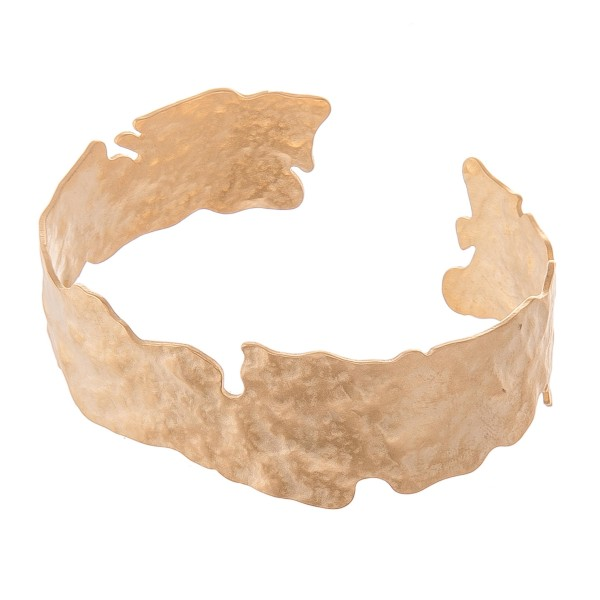 "Nugget Cut Cuff Bracelet in Matte Gold.  - Approximately 2.25"" in diameter - Fits up to a 5"" wrist"