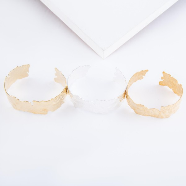 """Nugget Cut Cuff Bracelet in Matte Gold.  - Approximately 2.25"""" in diameter - Fits up to a 5"""" wrist"""
